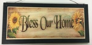 Sunflowers Bless Our Home Country Kitchen Wooden Wall Art Sign Wood
