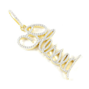 Ladies Yellow Gold Finish BLESSED  .925 Sterling Silver Pendant Charm /& Necklace