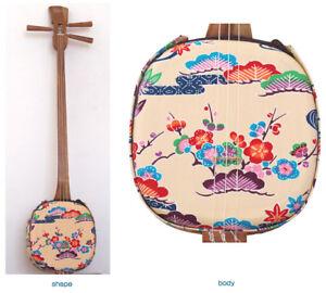 Traditional NEW WOOD Bingata White Sanshin Shamisen Okinawa Ryukyu