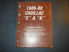 1986 87 88 CADILLAC E K PARTS CATALOGUE ELDORADO CDN
