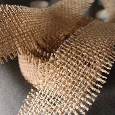 """Burlap Ribbon 1.5"""" wide 10 yards Crafts Bows Weddings Jute Roll With Frayed Edge"""