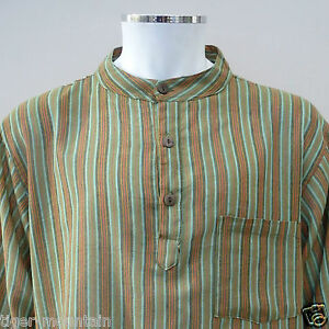 New-Hippy-Boho-Grandad-Nepalese-Casual-Shirt-in-Green-Stripes-UNISEX-Lightweight