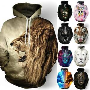 Unisex Men Women Wolf Lion Hoodies Sweatshirt Pullover Jumper Top Hip Hop Blouse
