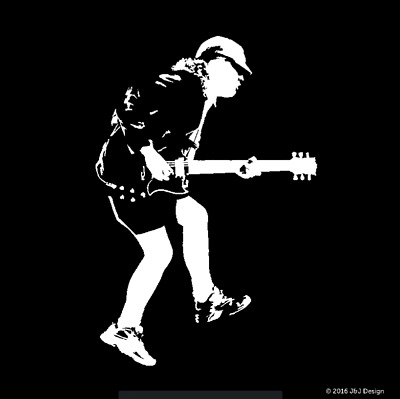 Angus Young Acdc Standing Guitarist Musician Vinyl Sticker