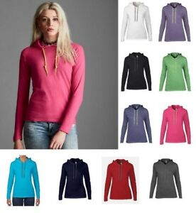 ANVIL-Ladies-Lightweight-Long-Sleeve-Semi-fitted-cotton-HOODED-T-SHIRT-10-Colour