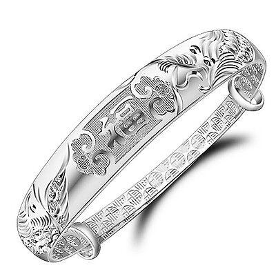 New Women 925 Sterling Silver Plated Jewelry Adjustable Wedding Bangle Bracelet