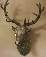 LARGE Antique Bronze Stags Stag Head Bust Wall Art Sculpture Vintage Retro NEW