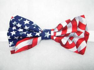 American Flag Bow Tie NEW Made in USA Patriotic Pre-Tied Americana Wedding