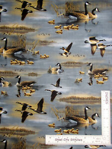 Geese-Bird-Animal-Water-Fowl-Cotton-Fabric-QT-Flying-Geese-Hautman-By-The-Yard
