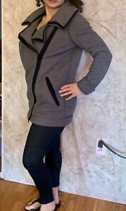 LULULEMON-offset-zip-funnel-collar-coat-jacket-charcoal-gray-knit-women-039-s-size-4
