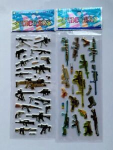 2pcs-lot-WEAPONS-SMALL-ARMS-Puffy-Stickers-Sheets-Party