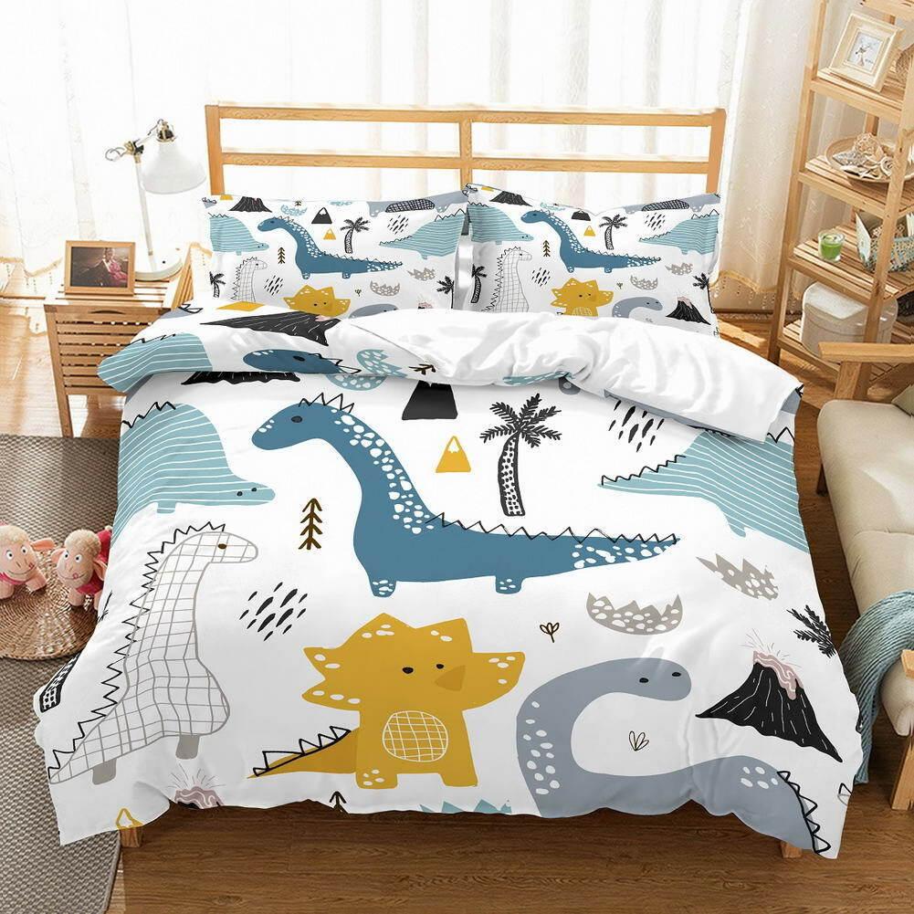 Dinosaur Unicorn 3D Quilt Duvet Doona Cover Set Single Double Queen King Print
