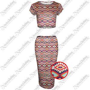 Nuevo Las Mujeres Aztecas Estampado Color Traje Medio Faldas De Tubo