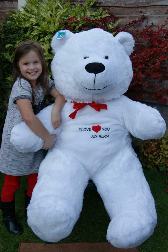 GIANT LARGE BIG HUGE Weiß TEDDY BEAR +EMBROIDERY 165 CM  EXPRESS DELIVERY UK