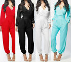 Hot Sale Women's Bodycon Sexy V-Neck Bandage Long Sleeve Romper Dress Jumpsuit