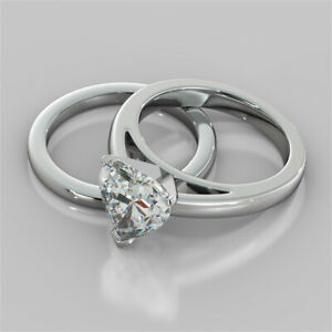 2.00 Ct Heart Cut Moissanite Engagement Band Set 18K Real White Gold Ring Size 6