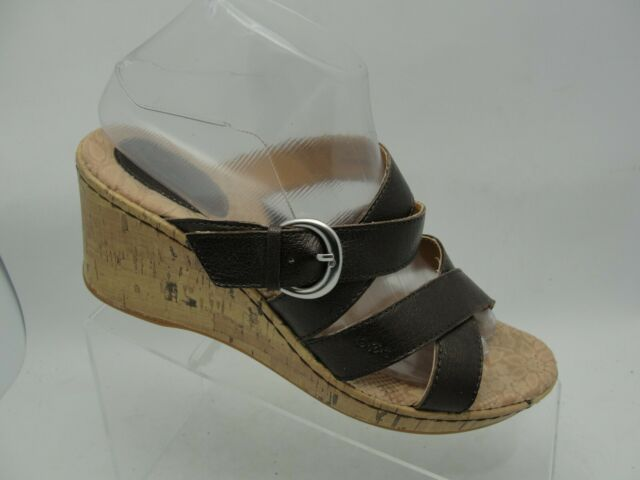 BORN BOC CORK SANDALS WEDGE HEELS STRAPPY SHOES BROWN LEATHER WOMENS SZ 8