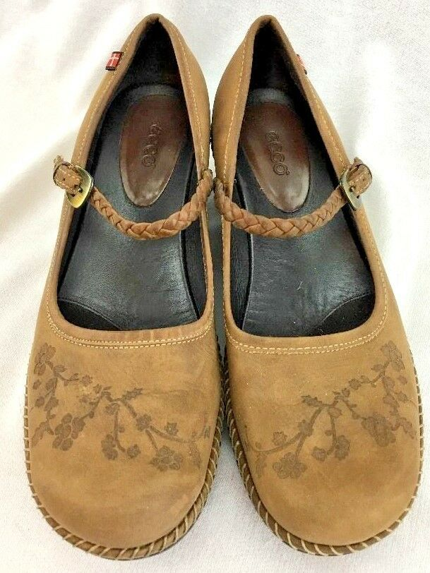 WOMENS ECCO LEATHER MARY JANES SIZE 37 EURO SIZE 6.5 US BROWN