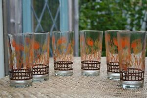 6-Vintage-Wheat-Glass-Drinking-Glasses-Round-5-1-4-034-Mid-Century-Modern-MCM