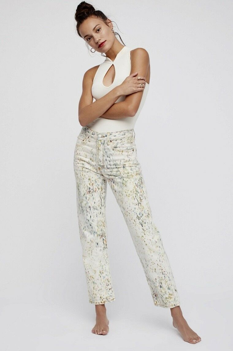 NEW Free People tan Denim Green Multi Splatter Paint Mid Rise Boyfriend Jean 28