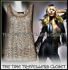 KATE MOSS TOPSHOP SHEER MESH SEQUIN 1/500  SILVER RING VEST TOP M UK 8 10 12 M