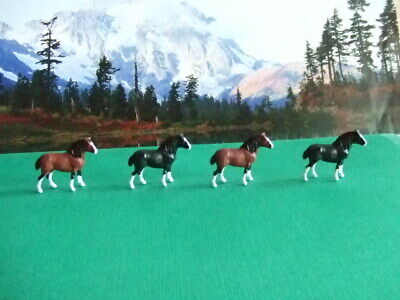 4 DRAFT HORSE FIGURES:  2 Clydesdale 2 Shire Lot #4 1//87 HO SCALE