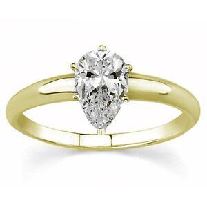 Diamantring Solitär 0,50 Ct. Tropfenschliff 750 Gelbgold Ring + GIA Zertifikat