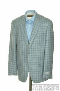 NWT - HART SCHAFFNER MARX Blue Plaid Silk Linen Blazer Sport Coat Jacket - 40 R