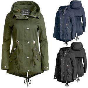 Details zu Damen Übergangsjacke von Trisens mit Kapuze 100 % Cotton Parka kurze Jacke