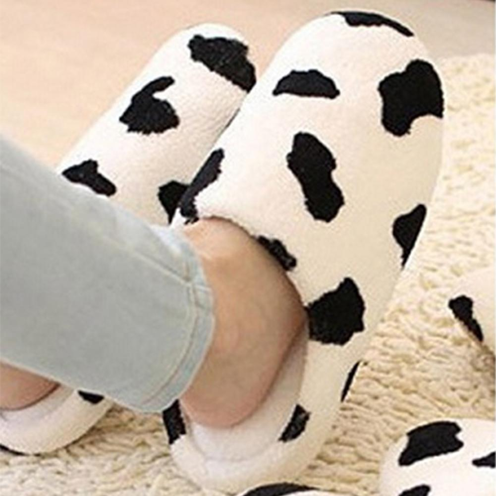 New Donna  Anti-slip Flat Shoes Soft Winter Warm Cotton Cow House Indoor Slipper