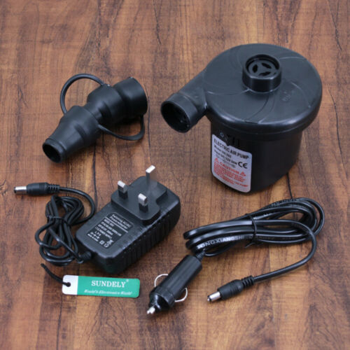 DUAL FUNCTION ELECTRIC AIR PUMP AC DC DOUBLE SINGLE BLOW UP BED CAMP GUEST