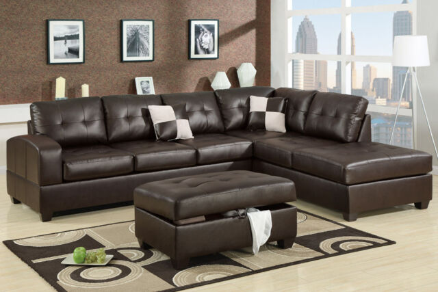 Bonded Leather Sectional Sofa 2 Piece W/ Reversible Chaise Espresso Living Room
