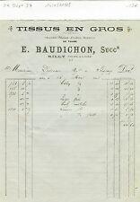 Dépt 37 - Rilly - Tissus en Gros E. Baudichon du 14/03/1908