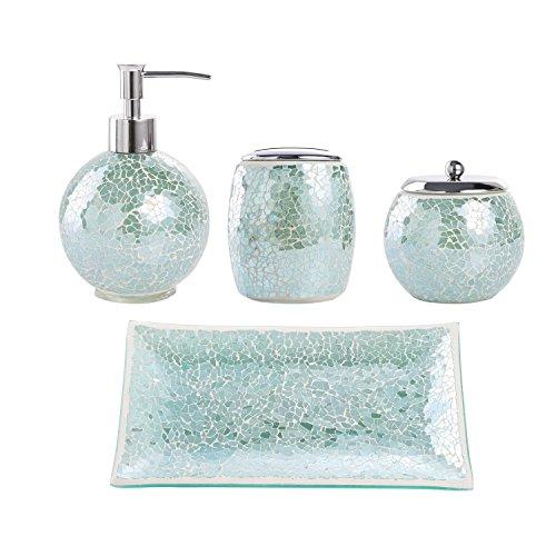 Peachy Whole Housewares Bathroom Accessories Set 4 Piece Glass Mosaic Bath Accessory Interior Design Ideas Gentotryabchikinfo