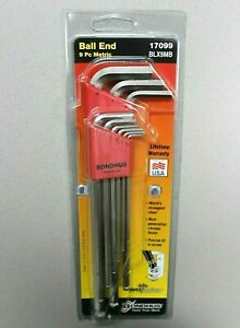 Extra Long Length Bondhus 17099 Set of 9 Balldriver L-wrenches with BriteGuard Finish sizes 1.5-10mm