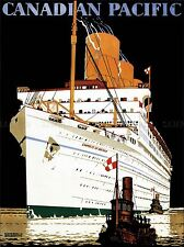 TRAVEL TRANSPORT OCEAN LINER SHIP BOAT EMPRESS BRITAIN TUG CANADA POSTER LV4405