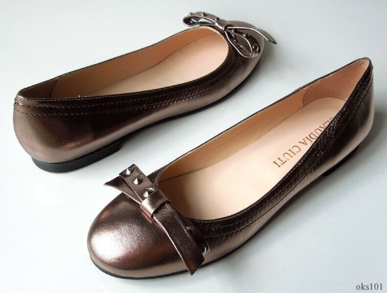 new CLAUDIA CIUTI STUDDED Camilla pewter metallic leather STUDDED CIUTI bow FLATS shoes Italy 228844