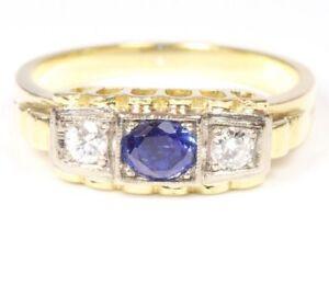 14kt-585-Saphirring-Gold-Ring-Goldring-Saphir-Brillantring-Brillanten-Brilliant