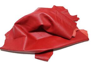 Red Lambskin leather hide skin Genuine Sheep Nappa Finish Leather 5 Sq Ft