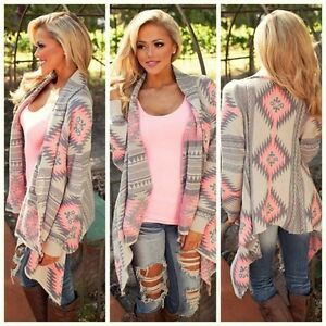 Girl-Fashion-Women-Long-Sleeve-Tops-Clothes-Knitted-Printed-Cardigan-Loose-Coat