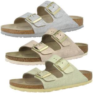 266d7db3db546f Das Bild wird geladen Birkenstock-Arizona-Leder-Schuhe-Washed-Metallic -Sandalen-Pantoletten-