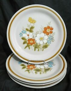 4-x-HIGHLAND-FLORALS-COLLECTION-GENUINE-STONEWARE-BROWN-BAND-DINNER-PLATES-10-5-034