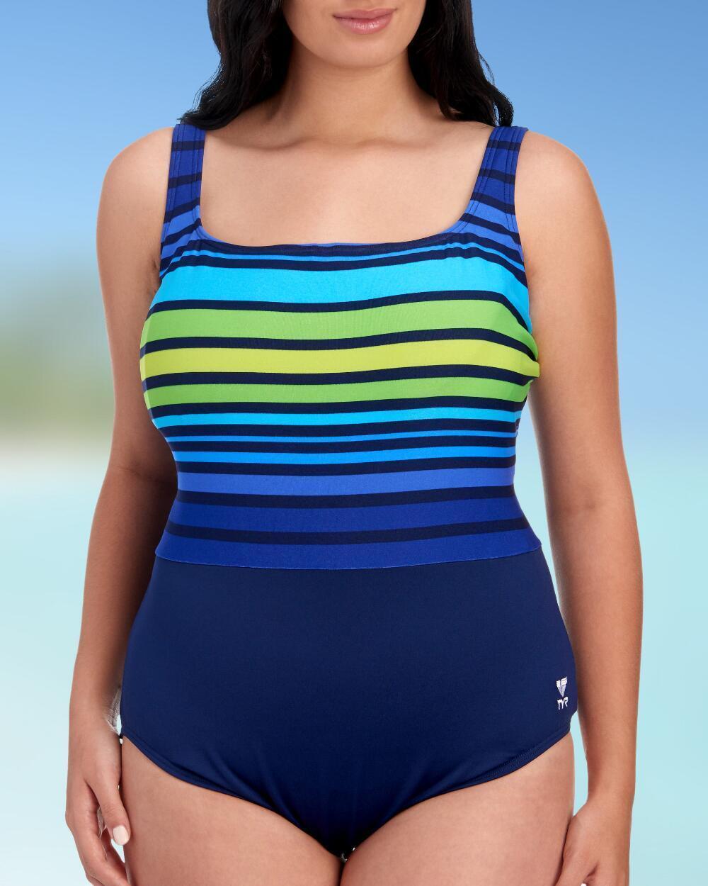 NEW TYR Women's Ombre Stripe Aqua Tummy Control Fit Plus Size 22 Navy Green  80