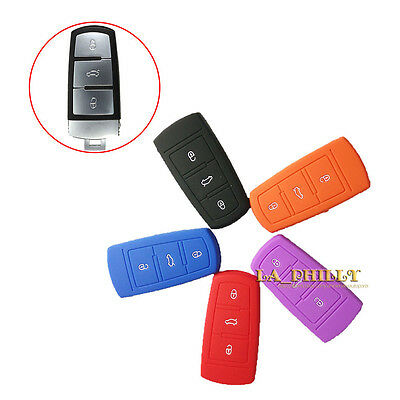 Silicone Key Shell Case Cover Holder Remote Flip Key FOB For VW CC Passat B6 B7