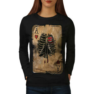 Wellcoda-Poker-Cartes-Skelet-Femme-T-shirt-a-manches-longues-cage-thoracique-Casual-Design