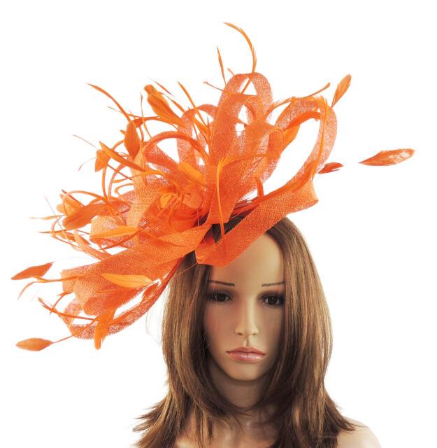 Large Orange Fascinator Hat For Weddings Ascot Proms Headband O1