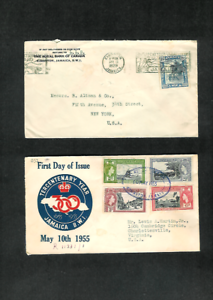 JAMAICA-Covers-Two-Diff-1929-to-New-York-amp-1955-Reg-039-std-to-Charlottesville-VA