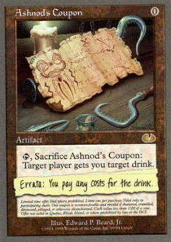 English Unglued MTG Magic 1x Ashnod/'s Coupon Light Play