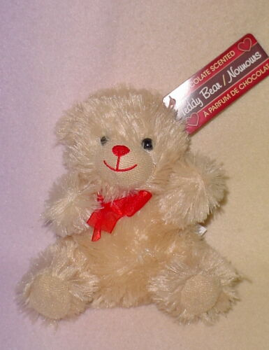 NEW 6 INCH ** CREAM BEAR ** CHOCOLATE SCENTED RED BOW//RED NOSE