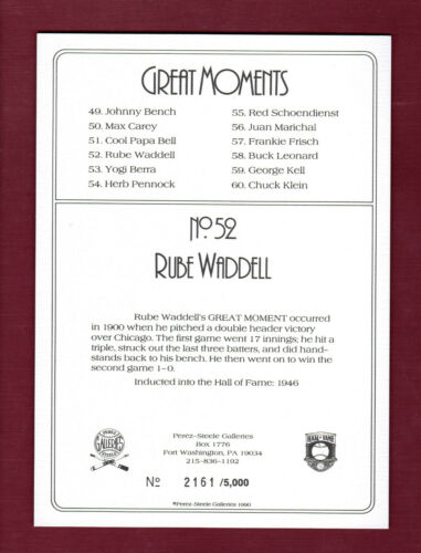 #52 RUBE WADDELL Athletics//A/'sPerez-Steele Turkey Red//T3 style cabinet card